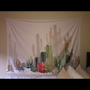 Boho Succulent Cactus Wall Tapestry